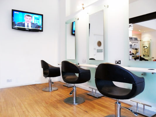 Salon Chairs And Flat Screen Tv